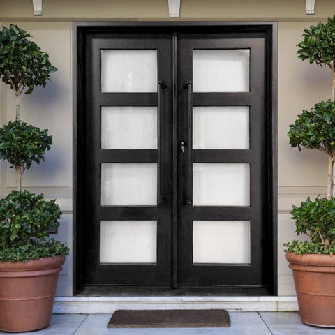 ALEKO Iron Square Top Minimalist Glass-Panel Dual Door 72 x 6 x 96 inches - Matte Black
