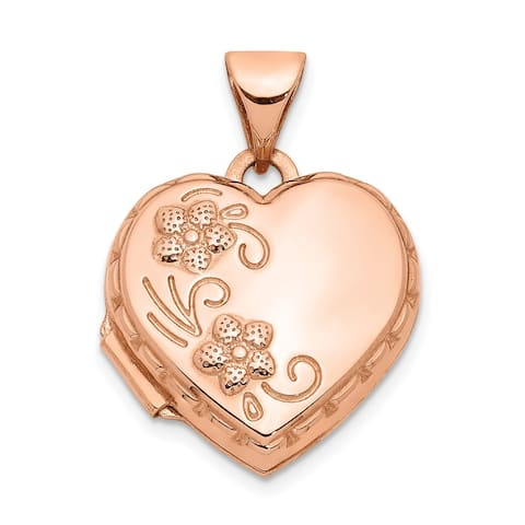 14K Rose Gold 15mm Domed Heart Locket with 18-inch Cable Chain by Versil