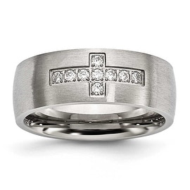 Stainless Steel Brushed CZ Cross Ring (7.8 mm) - Sizes 7 - 13