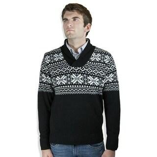 Shawl-Collar Jacquard Sweater (SW-051)