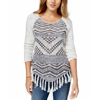 American Rag Juniors Printed Fringe Long Sleeve Sweater - S
