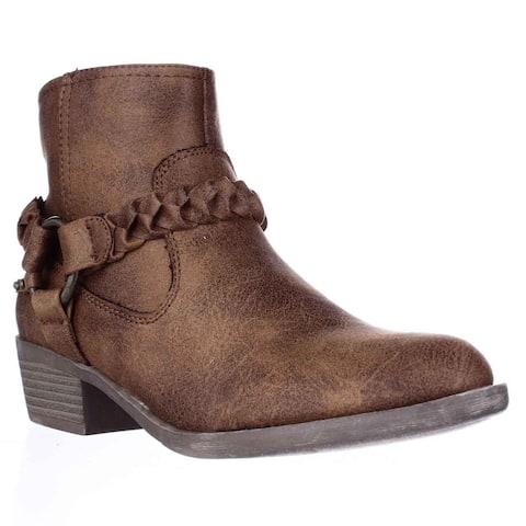 XOXO Glorius Braided Strap Ankle Booties, Tan