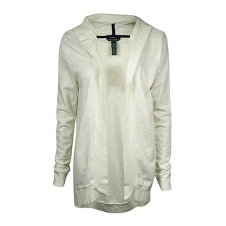 LRL Lauren Jeans Co. Women's Hooded French-Terry Knit Cardigan - Pearl - xs