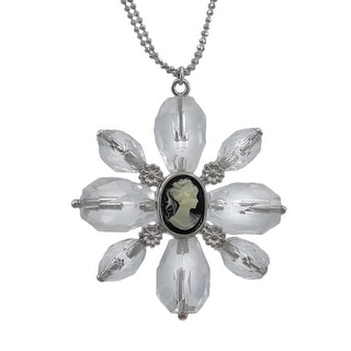Clear Faceted Bead Flower Necklace with Cameo