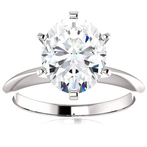 14k White Gold 2 Ct Oval Moissanite Solitaire Engagement Ring (H/VVS)