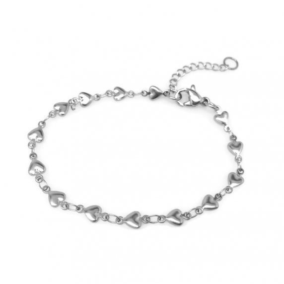 Loralyn Designs Stainless Steel Heart Chain Bracelet Adjustable (7.25 - 8.5 inch)
