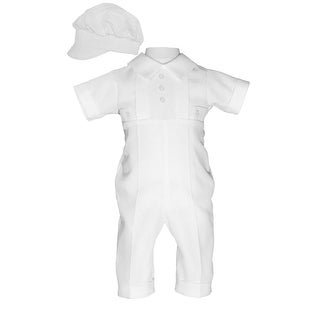 Baby Boys White Poly Cotton Waffle Pique Hat Christening Baptism Coverall