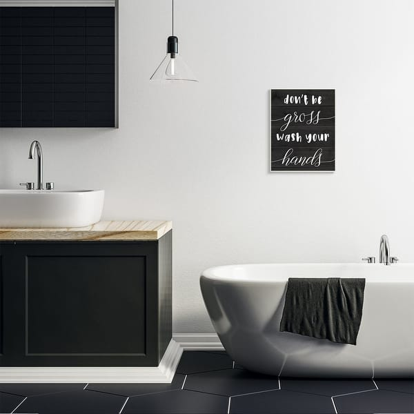 Shop Stupell Industries Don T Be Gross Wash Your Hands Rustic Bathroom Quote Wood Wall Art Black Overstock 31619241,Largest Container Ship In The World 2020
