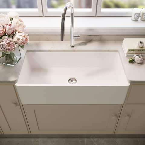 Matte Stone Farmhouse Composite 33 in. Single Bowl Kitchen Sink with 1 Strainer in Matte White