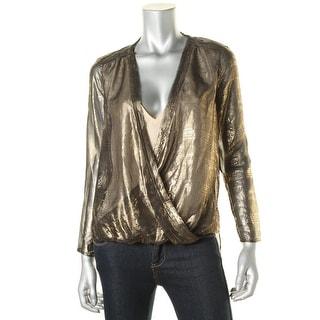 Cooper & Ella Womens Alyssa Metallic Sheer Blouse - S