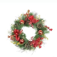 "26"" Red Ornament and Berry Gold Glittered Artificial Christmas Wreath - Unlit"