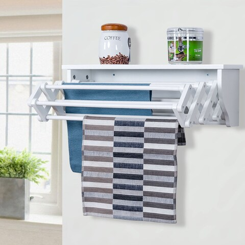 Costway Wall-Mounted Drying Rack Folding Clothes Towel laundry Room Storage Shelf White