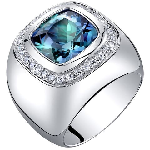 Men's 7 ct Cushion Cut Simulated Alexandrite Ring in Sterling Silver