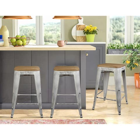 """24""""Backless Counter Height Metal Bar Stools with light wooden seat-Set of 2"""