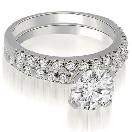 1.03 cttw. 14K White Gold Round Cut Diamond Bridal Set