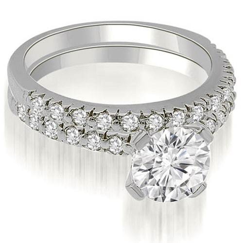 1.28 cttw. 14K White Gold Round Cut Diamond Bridal Set