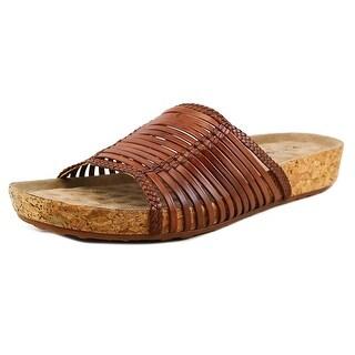 Walking Cradles Piece Women N/S Open Toe Leather Brown Slides Sandal