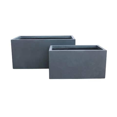 Kante 31 and 23 in. L Charcoal Lightweight Concrete Modern Long Low Granite Outdoor Planter (Set of 2)