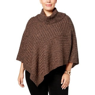 Karen Scott Womens Plus Poncho Sweater Marled Knit - 0x/1x