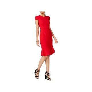 Betsey Johnson Womens Flounce Dress Ruffled Short Sleeves