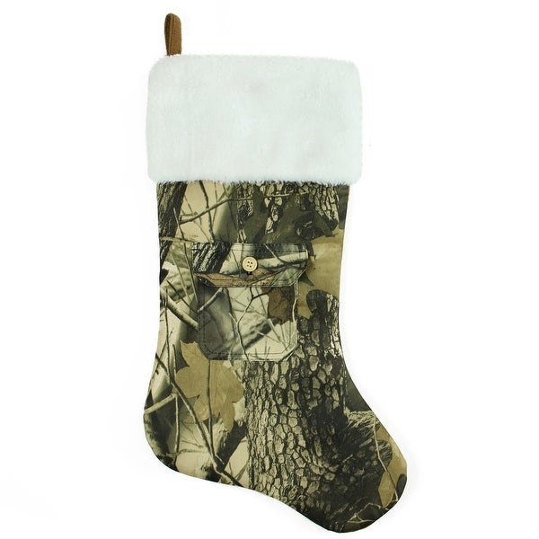 "21.5"" Tree Print Camouflage Christmas Stocking with Pocket and White Faux Fur Cuff - black"