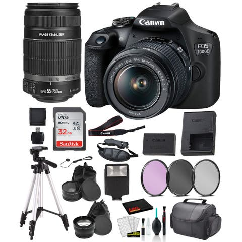 Canon EOS 2000D (REBEL T7) Digital SLR Camera 18-55MM IS ii and EF-S