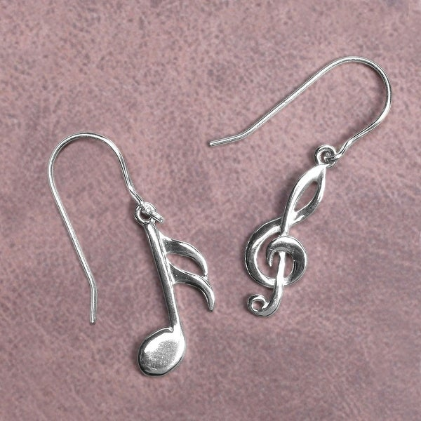 Women's Musical Notes Sterling Dangle Earrings - Silver