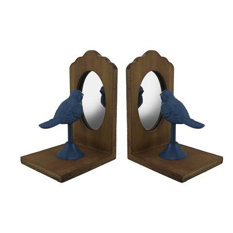 Pretty Perch Blue Bird Looking Into Mirror Vintage Rustic Bookend Set