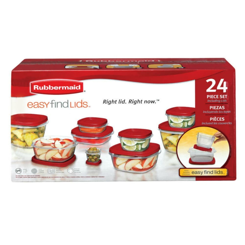 Rubbermaid 1903846 Food Storage Container Set With Lid, 24 Piece