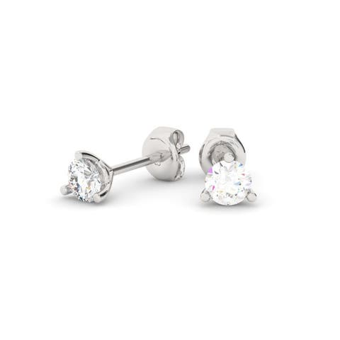 1/4 CT 14KT Gold Round Cut Three-Prong Martini Diamond Stud Earrings