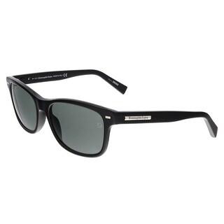 Ermenegildo Zegna EZ0001/S 01N Shiny Black Rectangle Sunglasses - Shiny Black - 56-17-140