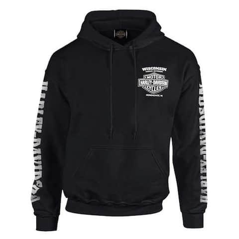 Harley-Davidson Men's Lightning Crest Pullover Hooded Sweatshirt, Black