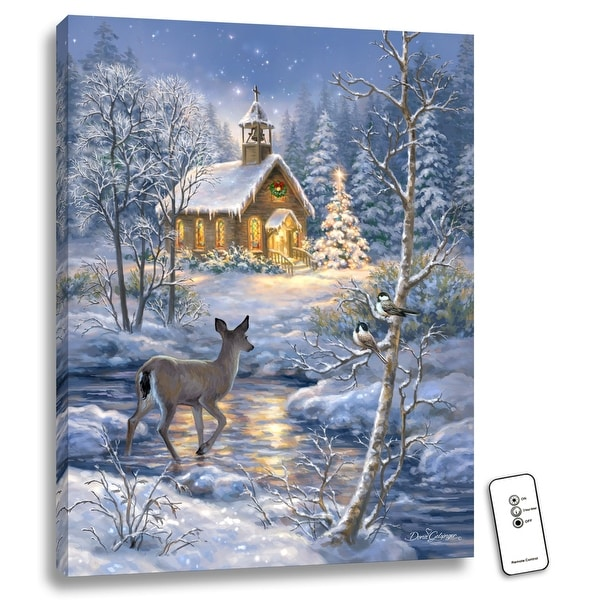 """24"""" x 18"""" Blue and White Chapel in the Snow Back-lit Wall Art with Remote Control - N/A"""