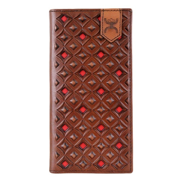 HOOey Western Wallet Mens Rodeo Signature Cut Outs Brown Red - 3 1/2 x 3/4 x 7