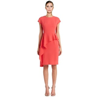 Teri Jon Crepe Cap Sleeve Peplum Sheath Cocktail Dress
