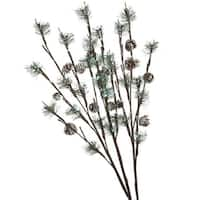 "Set of 3 LED Lighted Frosted Artificial Pine and Pine Cone Christmas Twig Branches 30"" - green"
