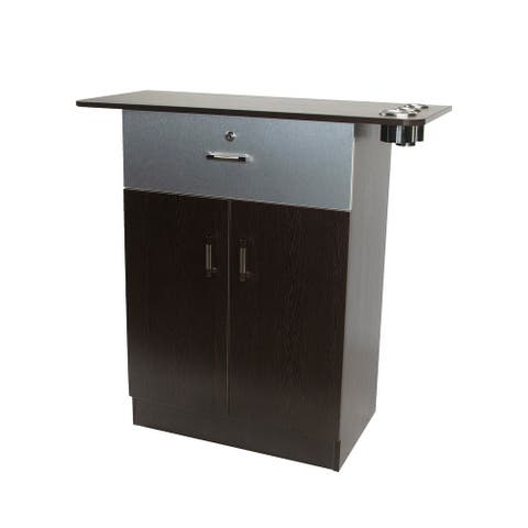 Berkeley CHLOE Styling Station for Beauty Spa Hair Salon, Brown Cabinet Silver Top