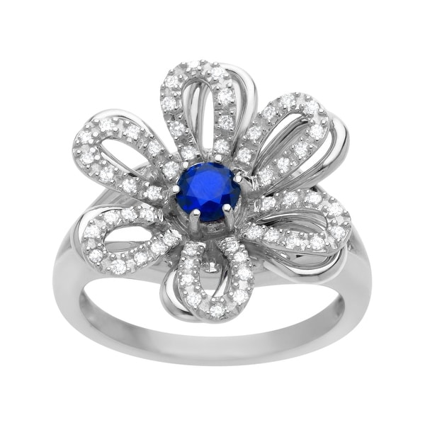 1/3 ct Sapphire and 1/5 ct Diamond Flower Ring in 14K White Gold - Blue