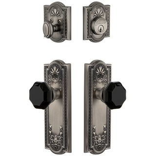 Grandeur PARLYO_SP_ESET_238  Parthenon Solid Brass Rose Single Cylinder Keyed Entry Deadbolt and Knobset Combo Pack with Lyon
