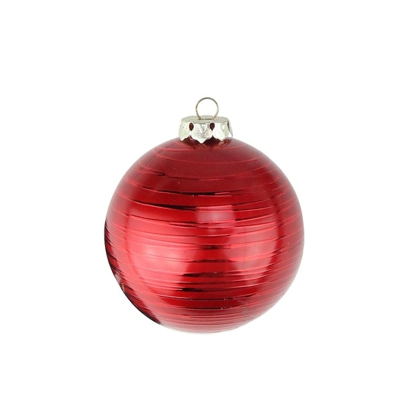 """2ct Matte Red Drizzled Line Shatterproof Christmas Ball Ornaments 3.25"""" (80mm)"""