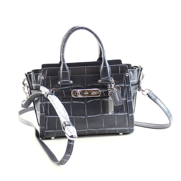 Shop Coach Blue Swagger 20 Satchel Croc Embossed Leather
