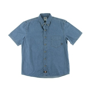 Dickies Mens Work Denim Button-Down Shirt - L