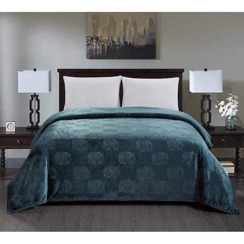 Elephant Embossed Blanket Queen Oxford Blue