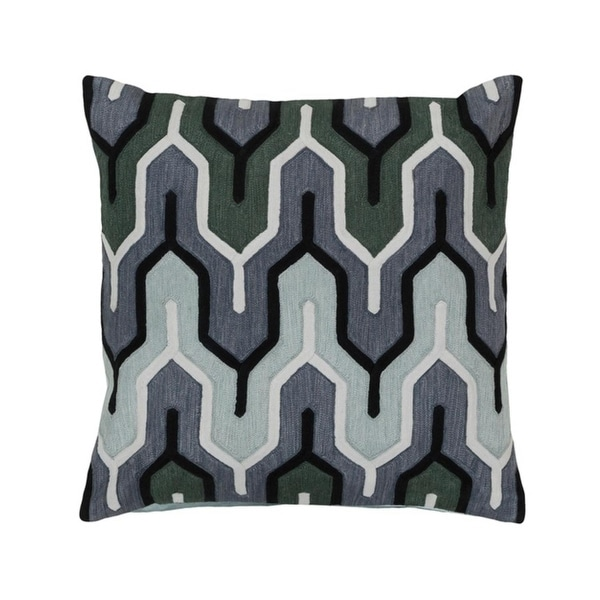 "20"" Charcoal Black, Denim, Seafoam and Hunter Green Empire Decorative Square Throw Pillow Down"