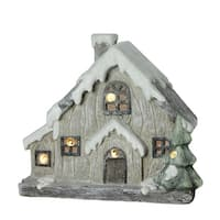 "12"" LED Lighted Battery Operated Rustic Glittered House Christmas Decoration - brown"