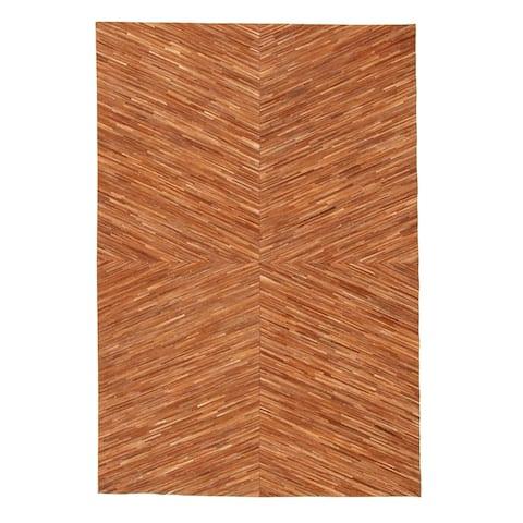 ECARPETGALLERY Handmade Cowhide Patchwork Brown Leather Rug - 5'3 x 7'9