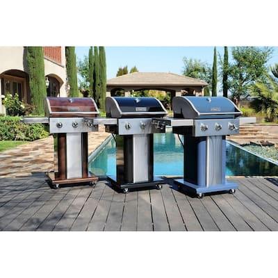 Permasteel 3 burner grill with folding side shelves