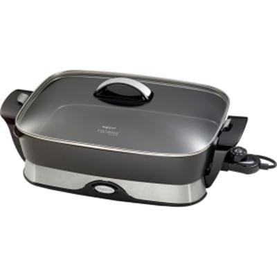 "Presto 06857 16"" Electric Foldaway Skillet With Tempered Glass Cover - Black"