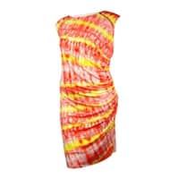 Calvin Klein Women's Zipper-Trim Ruched Jersey Dress - porcelain rose combo
