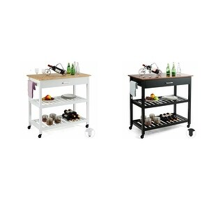 Gymax 2 in 1 Kitchen Island Utility Serving Cart Trolley w/ Drawers and Shelves